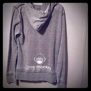 Green monkey grey hooded sweatshirt